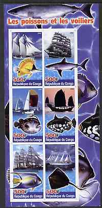 Congo 2004 Fish & Sailing Ships imperf sheetlet containing 6 values unmounted mint