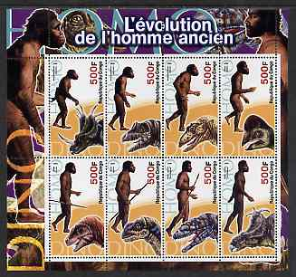 Congo 2004 Prehistoric Man perf sheetlet containing 8 values unmounted mint