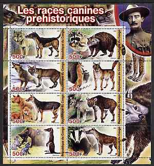 Congo 2004 Prehistoric Dogs perf sheetlet containing 8 values (with Baden Powell in margin) unmounted mint