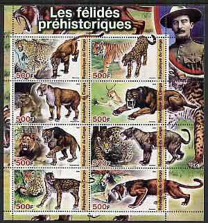 Congo 2004 Prehistoric Cats perf sheetlet containing 8 values (with Baden Powell in margin) unmounted mint