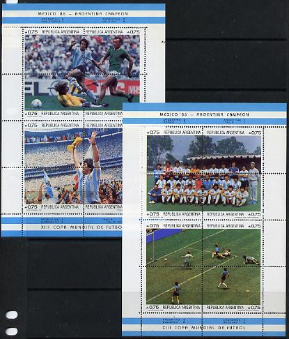 Argentine Republic 1986 World Cup Football Championships set of 16 (2 sheetlets of 8) SG 2006-21, Mi 1825-40 unmounted mint