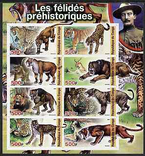 Congo 2004 Prehistoric Cats imperf sheetlet containing 8 values (with Baden Powell in margin) unmounted mint