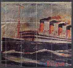 Turkmenistan 2000 Titanic perf composite sheetlet containing 12 values printed on metallic foil unmounted mint
