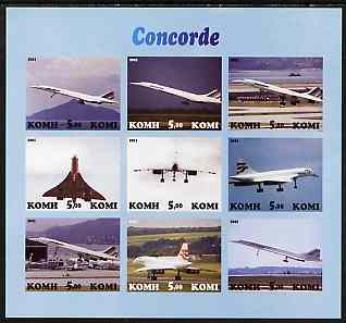 Komi Republic 2001 Concorde imperf sheetlet containing set of 9 values complete unmounted mint