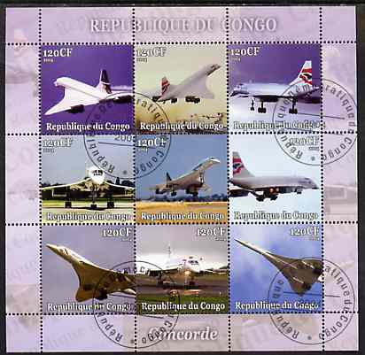 Congo 2004 Concorde perf sheetlet containing set of 9 values fine cto used