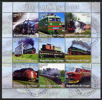 Congo 2004 Trains perf sheetlet containing set of 9 values fine cto used