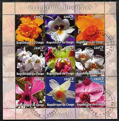 Congo 2004 Orchids perf sheetlet containing set of 9 values fine cto used
