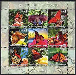Congo 2004 Butterflies perf sheetlet containing set of 9 values fine cto used