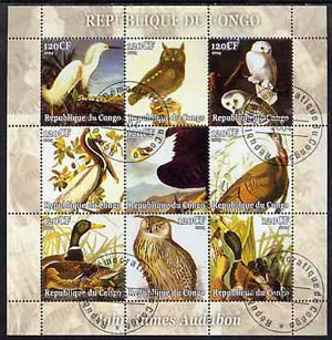 Congo 2004 John Audubon Birds perf sheetlet containing set of 9 values fine cto used