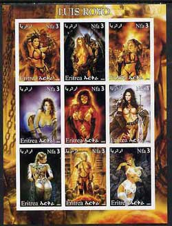 Eritrea 2002 Fantasy Art of Luis Royo imperf sheetlet containing 9 values unmounted mint