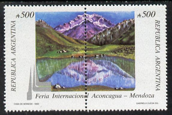 Argentine Republic 1990 Aconcagua Fair (Mountain & Lagoon) se-tenant pair unmounted mint SG 2192a