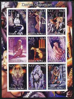 Eritrea 2003 Fantasy Art by Dorian Cleavenger (Pin-ups) imperf sheet containing 9 values, unmounted mint