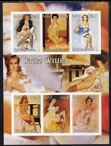 Eritrea 2003 Fantasy Art by Fritz Willis (Pin-ups) imperf sheet containing 6 values, unmounted mint