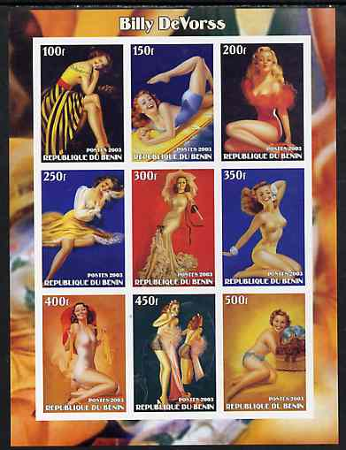 Benin 2003 Fantasy Art by Billy DeVorss (Pin-ups) imperf sheet containing 9 values, unmounted mint