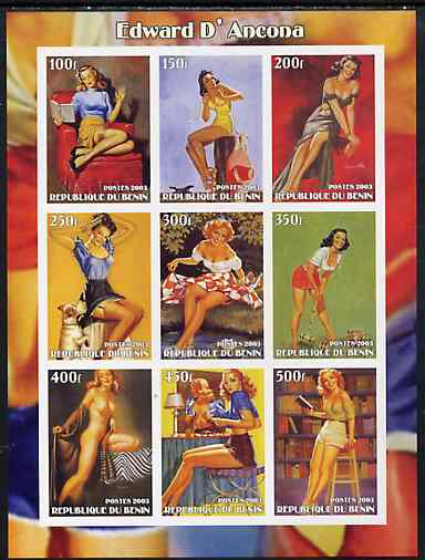 Benin 2003 Fantasy Art by Edward D'Ancona (Pin-ups) imperf sheet containing 9 values, unmounted mint