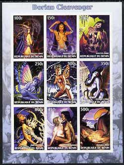 Benin 2002 Fantasy Art by Dorian Cleavenger (Pin-ups) imperf sheet containing 9 values, unmounted mint