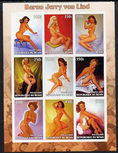 Benin 2002 Fantasy Art by Baron Jerry Von Lind (Pin-ups) imperf sheet containing 9 values, unmounted mint