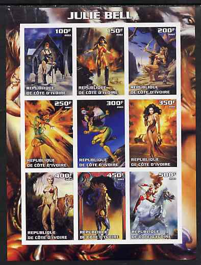 Ivory Coast 2003 Fantasy Art by Julie Bell (Pin-ups) imperf sheet containing 9 values, unmounted mint
