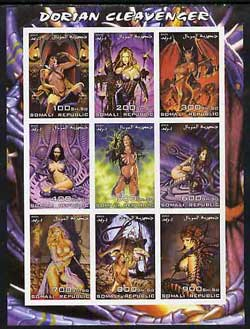 Somalia 2003 Fantasy Art by Dorian Cleavenger imperf sheetlet containing 9 values unmounted mint