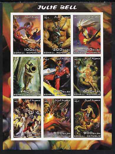 Somalia 2003 Fantasy Art by Julie Bell imperf sheetlet containing 9 values unmounted mint