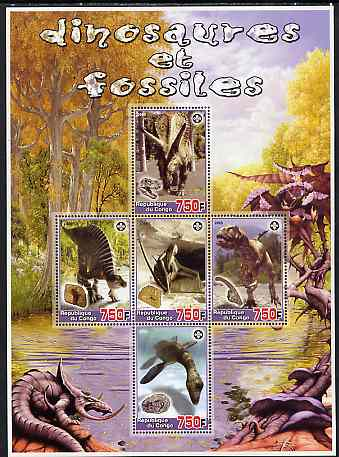 Congo 2005 Dinosaurs & Fossils large perf sheetlet containing 5 values (each with Scout Logo) unmounted mint