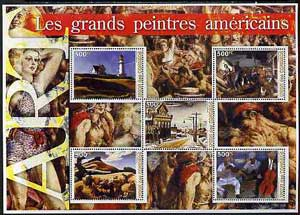 Comoro Islands 2005 Paintings (Great Americans) large perf sheetlet containing 5 values unmounted mint