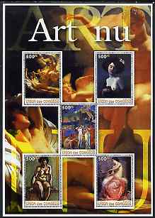 Comoro Islands 2005 Paintings (Nude) large perf sheetlet containing 5 values unmounted mint