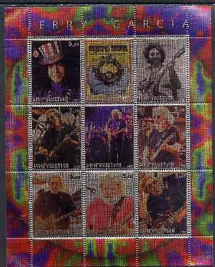 Ingushetia Republic 2000 Jerry Garcia perf sheetlet containing 9 values printed on metallic foil unmounted mint