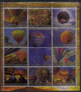 South Ossetia Republic (Kussar Iryston) 2000 Hot Air Balloons perf sheetlet containing set of 12 values printed on metallic foil unmounted mint