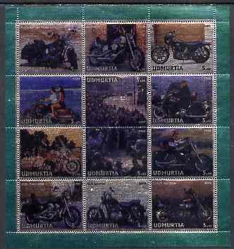 Udmurtia Republic 2000 Harley-Davidson Motorcycles perf sheetlet containing 12 values printed on metallic foil unmounted mint