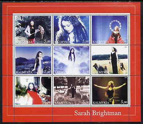 Kalmikia Republic 2002 Sarah Brightman perf sheetlet containing 9 values unmounted mint