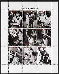 Kyrgyzstan 2000 Marlene Dietrich perf sheetlet containing set of 9 values unmounted mint