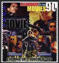 Turkmenistan 2002 Legendary Movies of the '90's - Terminator 2, large perf sheetlet containing 2 values unmounted mint