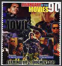 Turkmenistan 2002 Legendary Movies of the '90's - Terminator 2, large imperf sheetlet containing 2 values unmounted mint