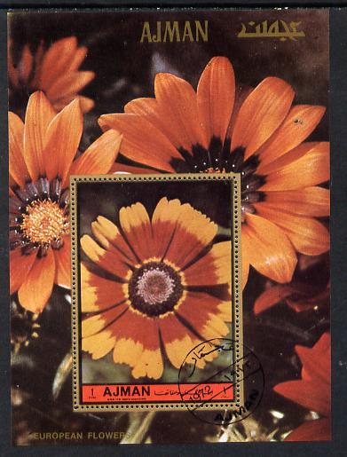 Ajman 1972 European Flowers perf m/sheet cto used, Mi BL 468A