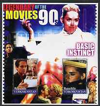 Turkmenistan 2002 Legendary Movies of the '90's - Basic Instinct, large perf sheetlet containing 2 values unmounted mint