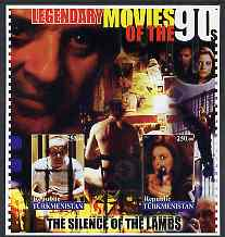 Turkmenistan 2002 Legendary Movies of the '90's - Silence of the Lambs, large imperf sheetlet containing 2 values unmounted mint