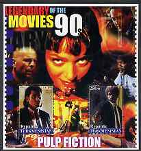 Turkmenistan 2002 Legendary Movies of the '90's - Pulp Fiction, large perf sheetlet containing 2 values unmounted mint