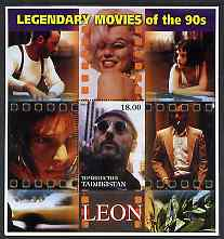 Tadjikistan 2002 Legendary Movies of the '90's - Leon, large perf sheetlet containing 1 value unmounted mint (also shows Marilyn Monroe)