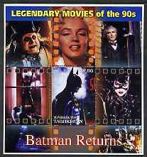 Tadjikistan 2002 Legendary Movies of the '90's - Batman Returns, large perf sheetlet containing 1 value unmounted mint (also shows Marilyn Monroe)