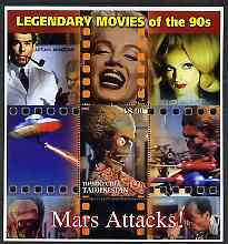 Tadjikistan 2002 Legendary Movies of the '90's - Mars Attacks, large perf sheetlet containing 1 value unmounted mint (also shows Marilyn Monroe) unmounted mint