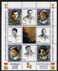South Ossetia Republic 1999 History of USSR Space Discoveries #05 perf sheetlet containing 8 values plus label overprinted for Astronauts Day in gold, unmounted mint , stamps on space, stamps on medals