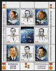 South Ossetia Republic 1999 History of USSR Space Discoveries #08 perf sheetlet containing 8 values plus label overprinted for Astronauts Day in gold, unmounted mint