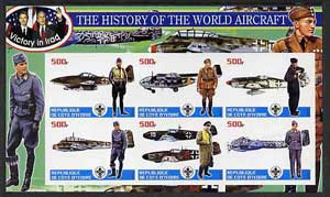 Ivory Coast 2003 History of the World Aircraft #02 imperf sheetlet containing 6 values each with Scout logo (with Blair & Bush & Victory in Iraq) unmounted mint
