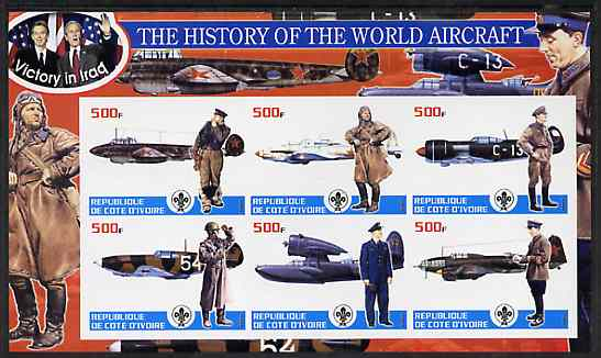 Ivory Coast 2003 History of the World Aircraft #03 imperf sheetlet containing 6 values each with Scout logo (with Blair & Bush & Victory in Iraq) unmounted mint