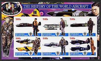 Ivory Coast 2003 History of the World Aircraft #05 imperf sheetlet containing 6 values each with Scout logo (with Blair & Bush & Victory in Iraq) unmounted mint