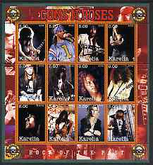 Karelia Republic 2002 Guns 'n' Roses #1 perf sheetlet containing 12 values unmounted mint
