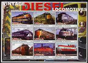 Somalia 2002 Diesel Locomotives #1 perf sheetlet containing set of 9 values unmounted mint