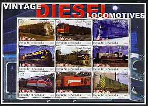 Somalia 2002 Diesel Locomotives #2 perf sheetlet containing set of 9 values unmounted mint
