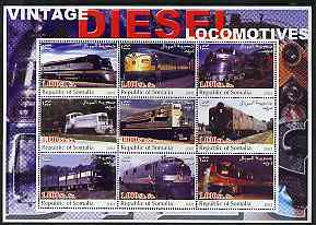 Somalia 2002 Diesel Locomotives #3 perf sheetlet containing set of 9 values unmounted mint